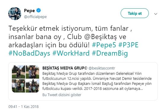 Pepe'den Beşiktaş Medya Grup'a teşekkür