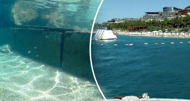 Bodrum'da denizaltına kaçak beton duvar! Otellere ceza yağacak