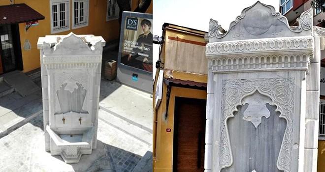 Tarihi çeşmedeki restorasyonda Abdülhamid Han'ın tuğrasını yenilenmedi