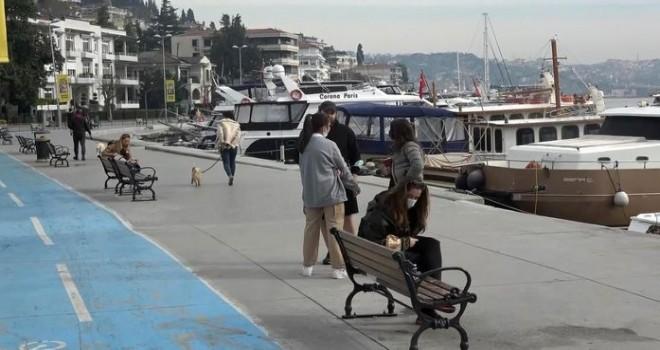 Beşiktaş'ta sokağa çıkma yasağında sahiller doldu