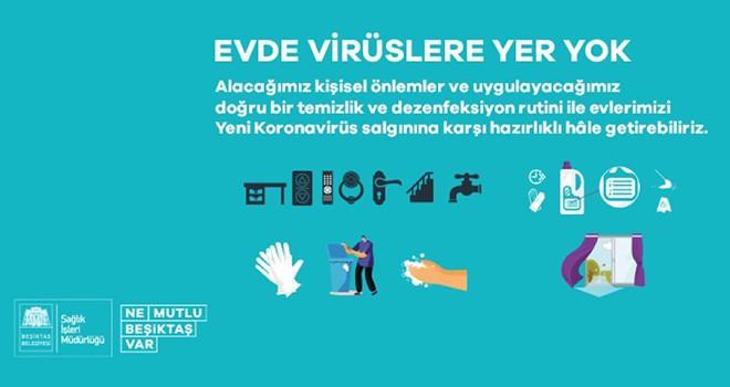 Beşiktaş Belediyesi'nden bireysel dezenfekte rehberi