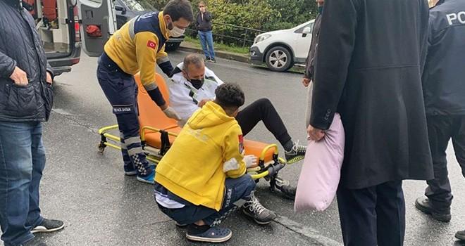 Spor yapan adama otomobil çarptı