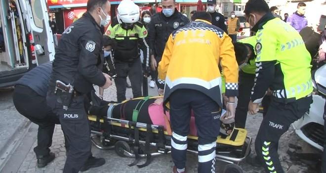 Ortaköy'de dehşet kaza! Kontrolden çıkan otomobil turiste çarptı