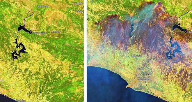 Manavgat'taki felaket uydudan görüntülendi