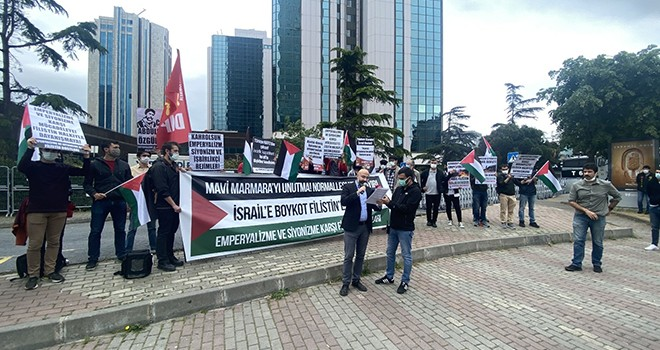 Levent'teki İsrail Başkonsolosluğu önünde eylem
