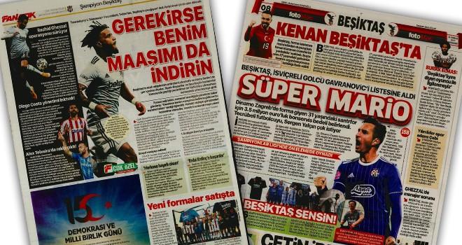 Günün Beşiktaş manşetleri (15 Temmuz)