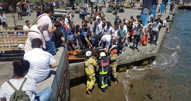 Denize düşen kadın için itfaiye ekipleri geldi
