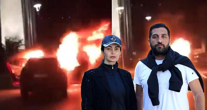 İsrail'in Filistin'e saldırılarını protesto eden çift Konsolosluğun önünde aracını yaktı