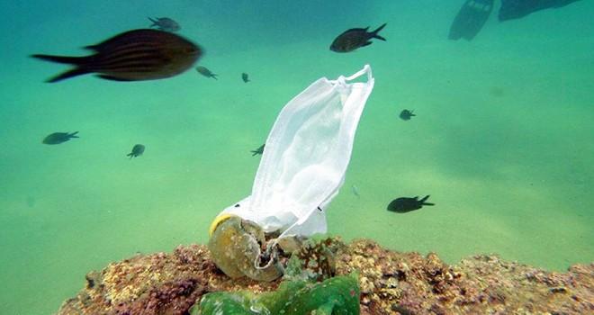 Koronavirüsle birlikte su altında maske ve eldiven atıkları arttı