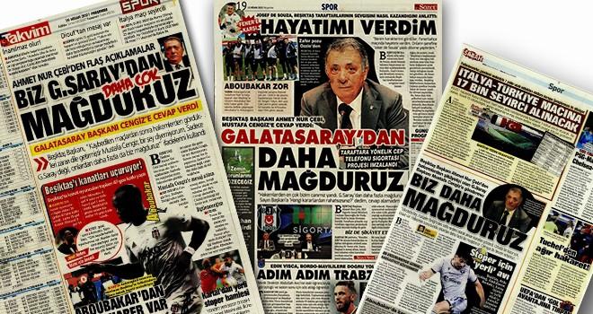 Ahmet Nur Çebi'nin açıklamaları gazete manşetlerinde