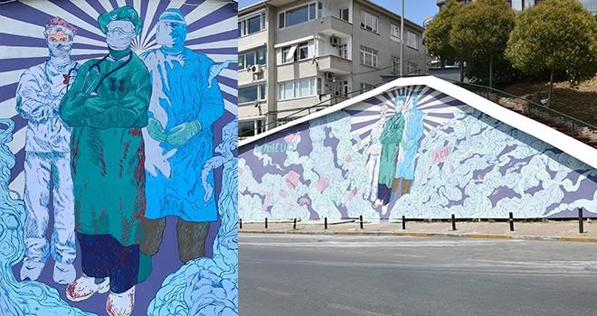 Beşiktaş'ta sağlık emekçileri için saygı duvarı