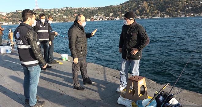 Beşiktaş'ta olta balıkçıları denetlendi