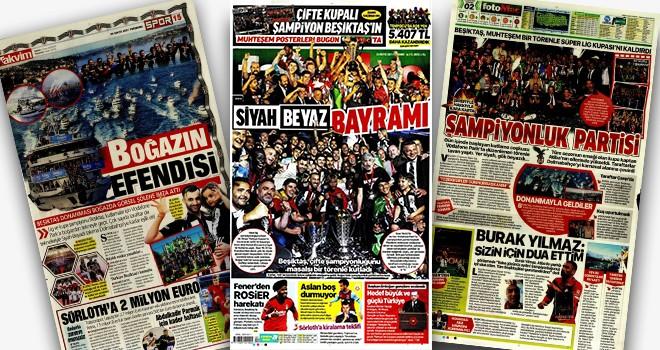 Beşiktaş'ın kupa töreni gazete manşetlerinde