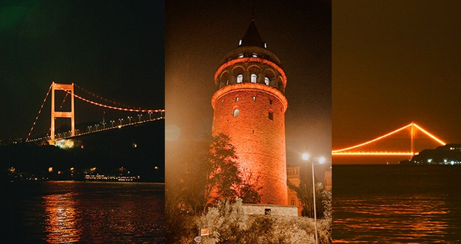 İstanbul'un sembol yapıları lösemili çocuklar için turuncuya bürünüyor