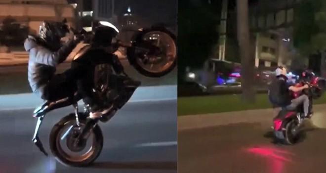 Tek teker üzerinde giden motosiklet tehlike saçtı