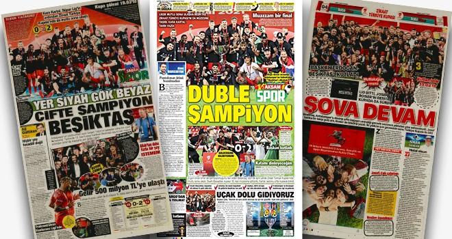 Kupaların efendisi Beşiktaş gazete manşetlerinde