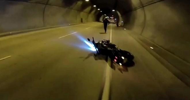 Dolmabahçe Tüneli'nde motosiklet kazası