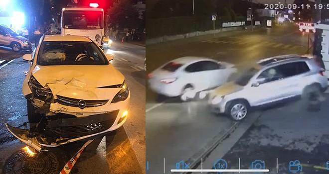 Ortaköy'de feci kaza! Otomobilin çarptığı cip otoparka uçtu