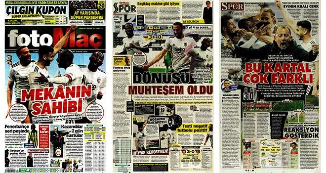 Lider Beşiktaş gazete manşetlerinde! Mekanın sahibi