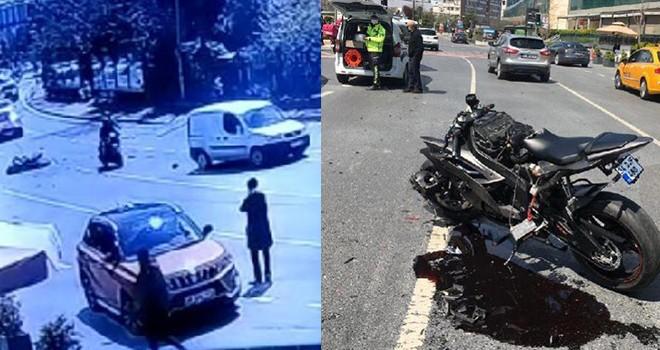 Tek teker sürdüğü motosikletle kaza yaptı, metrelerce sürüklendi