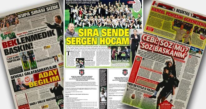 Gazetelerin spor sayfaları Beşiktaş manşetleriyle doldu