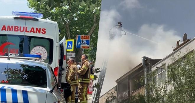 6 katlı boş binanın çatı katındaki yangında itfaiye eri yaralandı