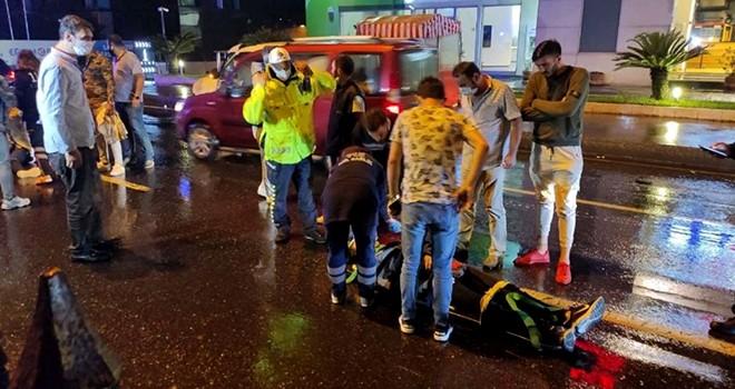 Yağış sonrası kayganlaşan yolda zincirleme kaza