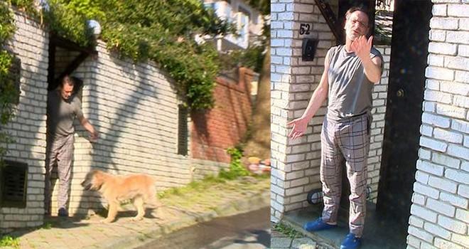 Kameraları görünce köpeğini bırakıp kaçtı