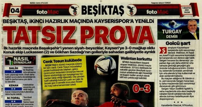 Beşiktaş manşetleri (1 Ağustos)
