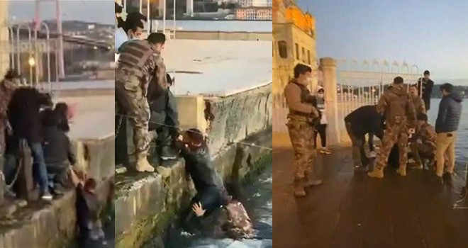 Denize düşen turistin yardımına özel harekat polisi koştu