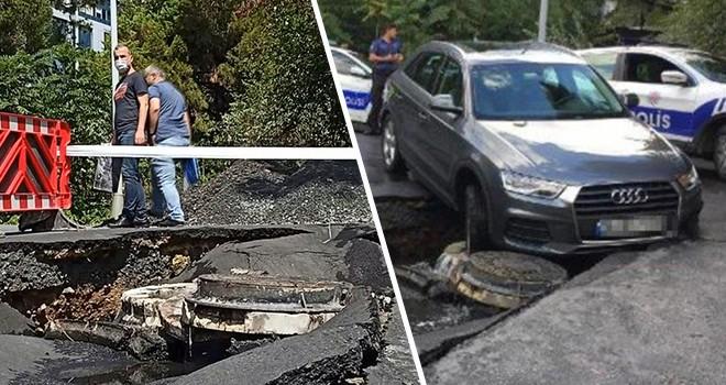 Yağış nedeniyle Beşiktaş'ta yol çöktü